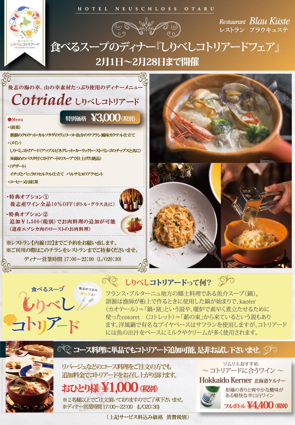 コトリアード 食べるスープ フレンチ 小樽 しりべし 後志 札幌 函館 北海道ケルナー 辛口ワイン 白ワイン イルミネーション 雪 鍋