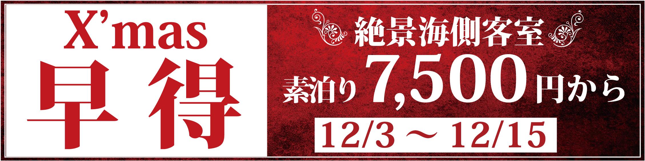 【12月3日~15日、15組限定】最安値に挑戦!露天風呂付客室 クリスマス『早得』プラン
