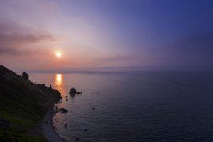 夕日 日本海 絶景 小樽 フレンチ